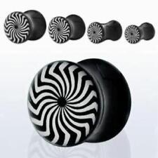 Pair or Single Psychedelic Swirl Black & White Solid Ear Plugs Gauge Earrings