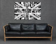 British Music Grey Black Canvas Print Wall Art Rock Indie Union Jack Best Albums