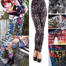 Newsprint Stretchy Leggings Graffiti Pants Articles Text Black/White/Red Blue US