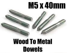 M5 x 40mm Steel Wood - Metal Dowels Hanger Bolts Dual Thread Screws Furniture