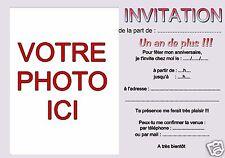 12 ou 15 cartes invitation anniversaire personnalisable avec texte