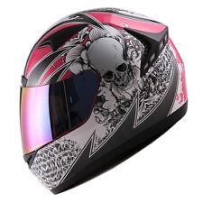 NEW 1STORM DOT MOTORCYCLE STREET BIKE FULL FACE HELMET BOOSTER SKULL PINK HG335