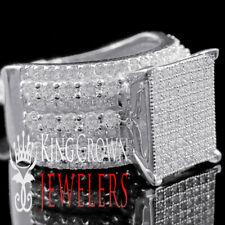 Ladies Bridal Engagement Ring Big Square Face White Gold Tone 925 Silver Diamond