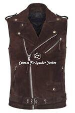 Men's Brando Brown Suede Motorcycle Biker Steam Punk Real Leather Waistcoat 1025