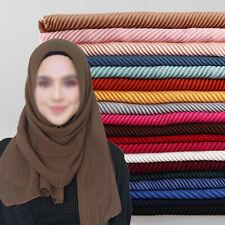 Women Ladies Pleated Maxi Hijab Scarf Shawl Plain Muslim Wrinkle Scarves Wraps