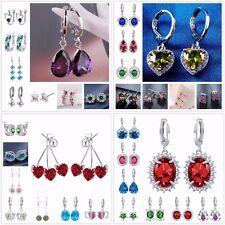 Women Fashion Silver Plated Gemstone Ear Stud Hoop Dangle Earring Bridal Jewelry