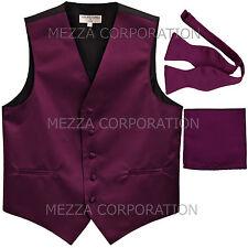 New Men's eggplant vest Tuxedo Waistcoat self tie bow tie and hankie set