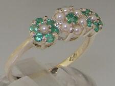 Sólido de plata esterlina 925 Natural Esmeralda & Anillo de clúster de mujer de perlas cultivadas