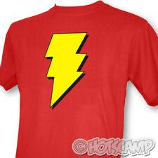 Capitano Marvel Shazam Da Uomo Rosso T-Shirt Geek Chic Retro