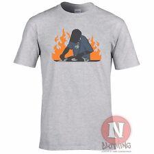 DJ on Fire T-Shirt Mischpult Rave Ausgehen Deejay Ibiza Alt Schule Style