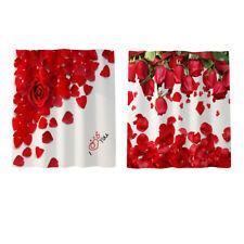 Romanticism Rose Shower Curtain Liner Set with Hooks Bathroom Ornaments