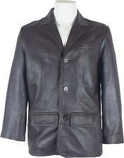UNICORN Hombre Genuino cuero chaqueta Estilo clásico Blazer traje Marrón #A4