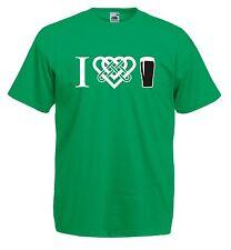 Maglia J685 I Love Pint Guinness Intreccio Celtico T-shirt Irish Cotone 100%