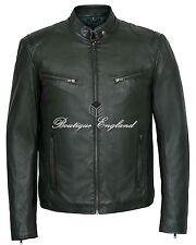 Men's Dark Green Retro Biker Style Motorcycle Soft Lamb Skin Leather Jacket