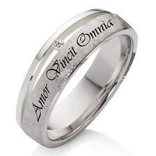 Verlobungsring Trauring Silber mit echtem Diamant und Wunsch Lasergravur PEBL43