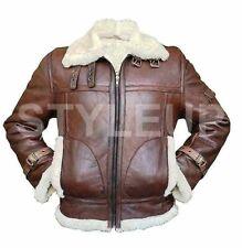 Brown B3 Aviator White Fur RAF Pilot WW2 Flying Bomber Leather Jacket All Sizes