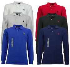 Us POLO assn. maglietta uomo camicia cotone 3 bottoni manica lunga logo ricamato
