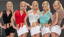 """blusa c/nodo""""rete &borchie"""" colori nero,bianco,beige,rosso,turchese tg S/M; L/XL"""