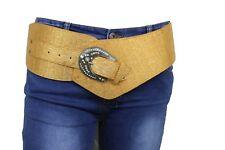 Women Fashion Wide Belt Lower Hip Western Faux Leather Metallic Gold Shiny S M L
