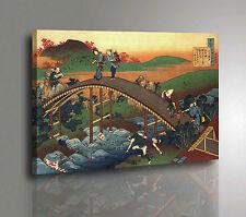 HOKUSAI WALKING Quadro Pannello mdf Art Poster Stampa su Tela Vernice Pennellate
