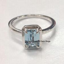Aquamarine Solitaire Engagement Wedding Ring,5x7mm Emerald Cut,14K White Gold