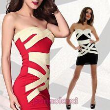 De tubo vestido mujer minivestido traje banda bicolor ajustado nuevo DL-900