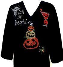 Plus 3X Knit Top Embellished Rhinestone Halloween Ghost Pumpkins Spider Cocktail
