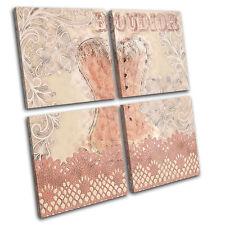 Boudior Text Corset Lace Fashion MULTI CANVAS WALL ART Picture Print VA