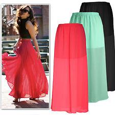 New black neon peach mint half sheer chiffon maxi skirt Au 6-16
