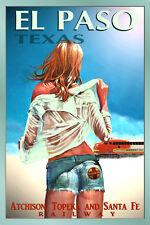 EL PASO Texas -SANTA FE Railroad New Pin Up Train Travel Poster Art Print 099