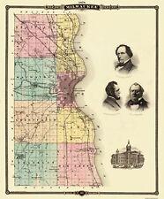 Old County Map - Milwaukee Wisconsin Landowner - Snyder 1878 - 23 x 27.88
