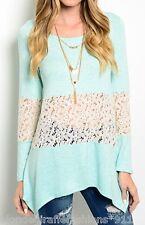 Aqua/Gray 2-Tone w/ Lace Inset Long Sleeve Blouse Tunic Top S M L