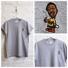 Actual Fact ODB x Charlie Marrón Bordado Gris Hip Hop Camiseta Camiseta
