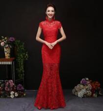 Cheongsam QiPao Long Wedding Dress Chinese Women's Gown Lace Evening Dress R222