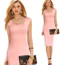 Elegante vestito abito corto tubino rosa cipria lungo slim morbido 1410