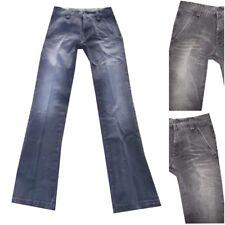 jeans pantaloni meltin pot nelson uomo zampa d'elefante svasato slim nero W28L34
