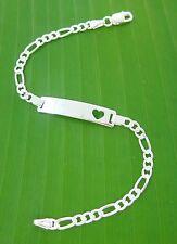 """MADE IN ITALY - 925 Sterling Silver """"open heart ID FIGARO"""" bracelet - TEEN GIRL"""