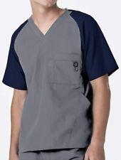 WonderWink Medical Scrubs Men's Pewter Contrast Utility 5 Pocket Top Sz S-XXL