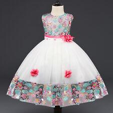 Flower Girl's Floral-Embroidered Pearl Embellished Evening Dress Up 2-8 Y ZG8