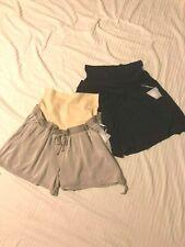 a:glow Maternity Shorts; Invertible Full Belly, Elastic Waist;Blk or Tan, XL,XXL