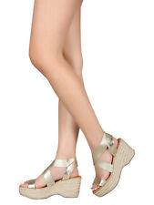 577465cdfb4 Women Elastic Crisscross Open Toe Espadrille Platform Wedge 18416