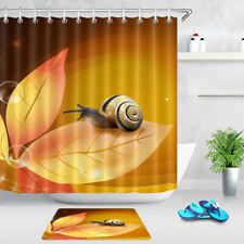 "Snail Autumn Yellow Tree Leaf Waterproof Fabric Bathroom Shower Curtain Set 72"""