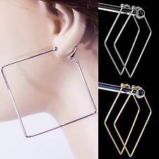 "#C100 Non-Pierced CLIP ON Big 2.3"" Square Rhombus Stylish Hoop Comfort EARRINGS"
