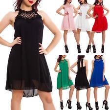 Vestito donna mini abito velato ricamo pizzo elegante svasato sexy corto VB-9257