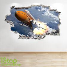 SPACE SHUTTLE WALL STICKER 3D LOOK - MOON PLANET GALAXY STARS BOYS BEDROOM Z221