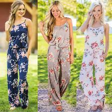 Combinaison Imprimé Fleurs Été Femme Casual Pantalons Dos Nu Été  Casual Mode