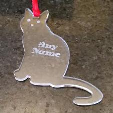 PERSONALISED ENGRAVED CHRISTMAS DECORATION GIFT STOCKING FILLER NAME CAT KITTEN