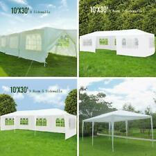 10'x30' Outdoor Canopy Party Wedding Tent White Gazebo Pavilion 5/7/8 SideWalls