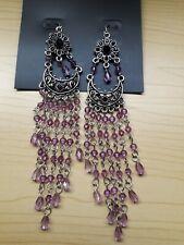 Design Drop Earrings Drop 14 cm Bnwt Kisumu Silver Tone/Lilac Bead Filigree
