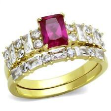 2134 wedding & engagement ring set SIMULATED DIAMOND STEEL PRINCESS EMERALD GOLD